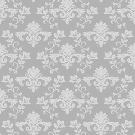 Damask branch intertwined seamless pattern gray background vintage wallpaper Иллюстрация