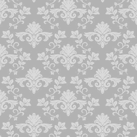 Damask branch intertwined seamless pattern gray background vintage wallpaper 向量圖像