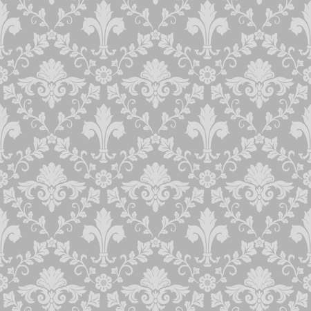Damask double medallion seamless pattern gray background retro wallpaper