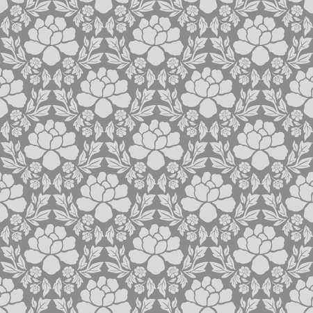 Damask flowers seamles pattern vintage gray wallpaper Иллюстрация