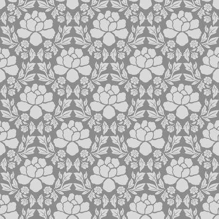 Damask flowers seamles pattern vintage gray wallpaper 向量圖像