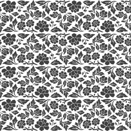 Abstract floral damask seamles pattern black and white background Иллюстрация