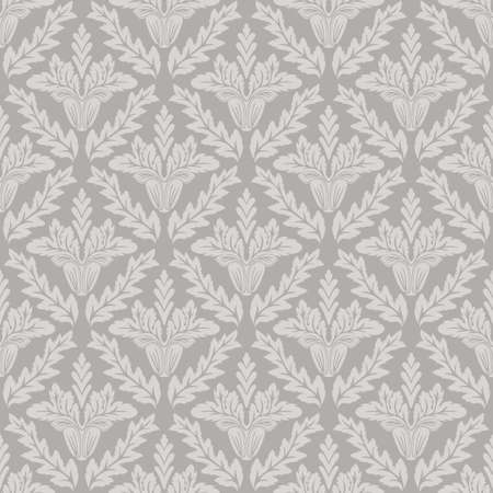 Damask floral seamless pattern gray background retro wallpaper