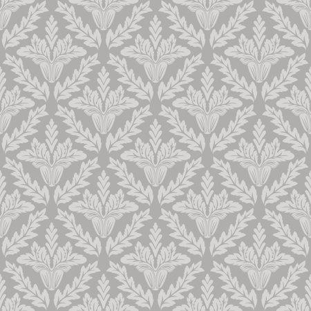 Damask floral seamless pattern gray background retro wallpaper