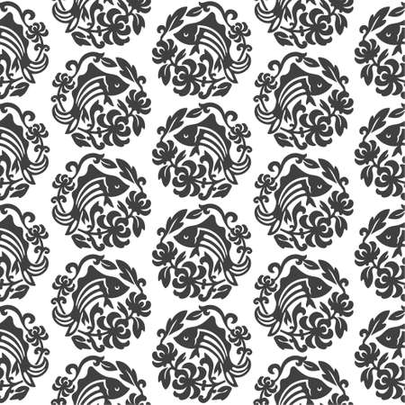 Abstract fish medallion damask seamles pattern black and white background vintage wallpaper Иллюстрация