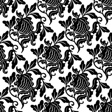 Goldfish damask seamles pattern black and white background vintage wallpaper