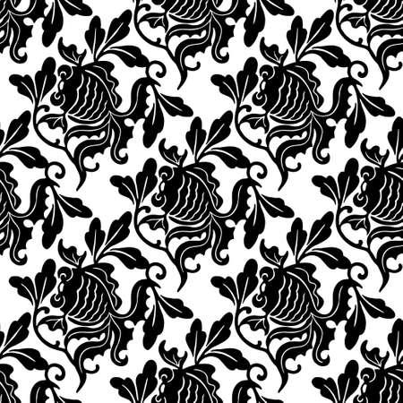 Goldfish damask seamles pattern black and white background vintage wallpaper