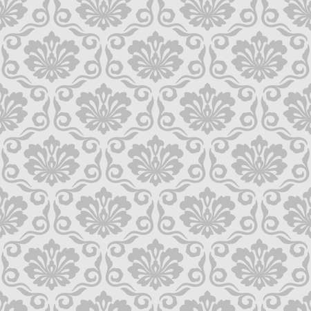 Floral damask seamless pattern gray background vintage wallpaper Иллюстрация
