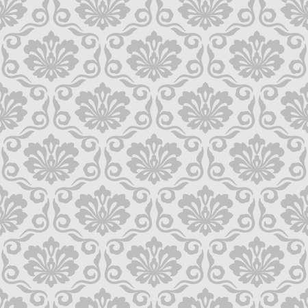Floral damask seamless pattern gray background vintage wallpaper 向量圖像
