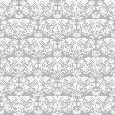 Twin fishes damask seamles pattern vintage gray wallpaper