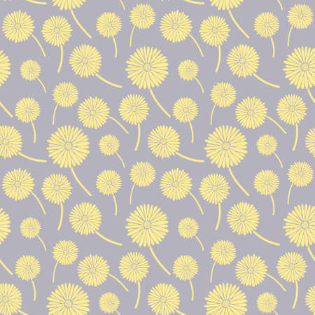 Small gray flower and leaves on yellow background seamless floral pattern