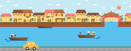 Hoi An landscape with Japanese Covered Bridge vector
