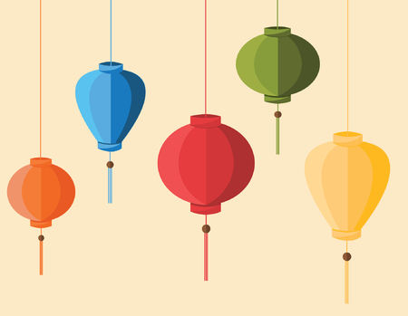 Colorful Hoi Ans lanterns in flat design