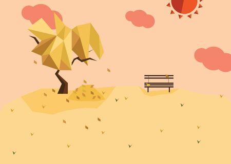 A series of four seasons flat design - Autumn