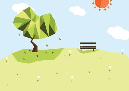 A series of four seasons flat design - Summer