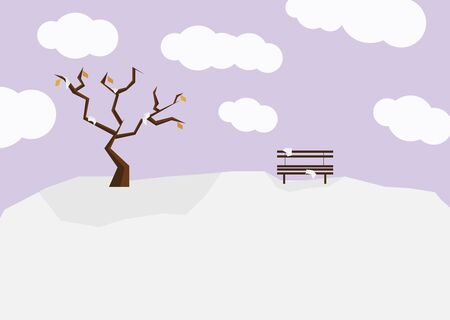 A series of four seasons flat design - Winter