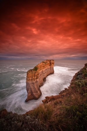 coastal erosion: Morning Sunrise at coastal cliff face rock formation of Twelve Apostle, VIC