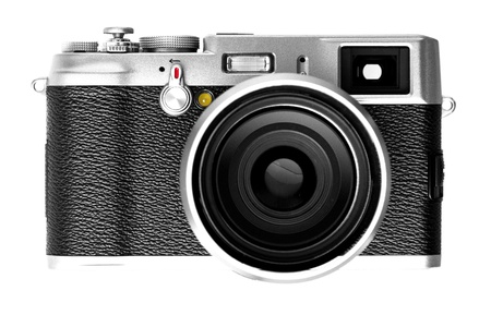 Digital vintage retro camera SLR on isolated white background. Stock Photo