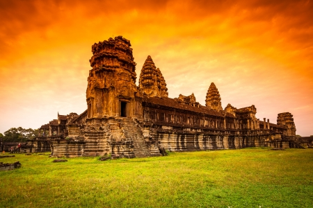 hindu temple: Red Dawn Sunrise at Angkor Wat from the back wall