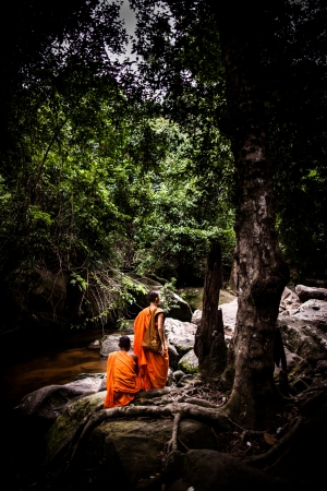 SIEM REAP, CAMBODIA - CIRCA JUNE 2012: Unidentified monks sitting near stream/waterfalls in the jungle June 2012 in SIEM REAP, CAMBODIA. Stock Photo - 16070044