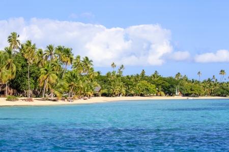 fiji: Beautiful Fiji atoll island with white beach in the middle of the ocean