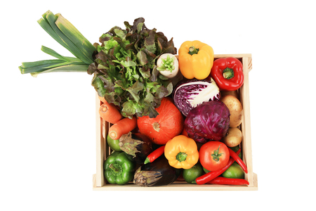 mixed fruit: Mixed fruit and vegetable pack shot. Stock Photo