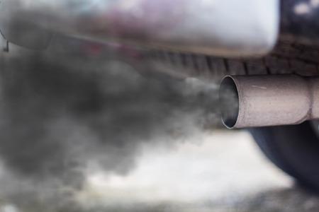 車の排気管から出る燃焼ガス 写真素材