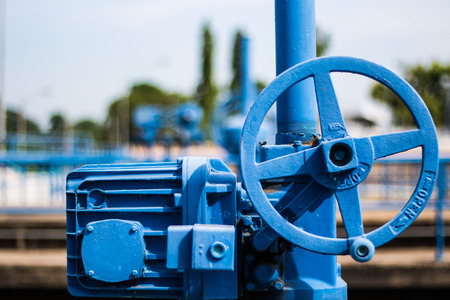 Blue valve at water treatment plant