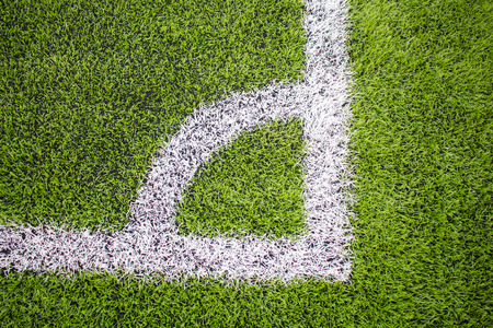 Corner of the Artificial turf football, Soccer field Stock Photo