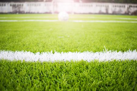 Kunstgras voetbalveld groen wit net