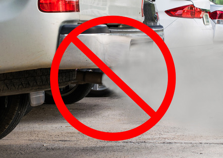 combustion fumes coming out of car exhaust pipe with no symbol Stock Photo