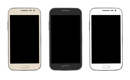 Three smart phone isolated on white background
