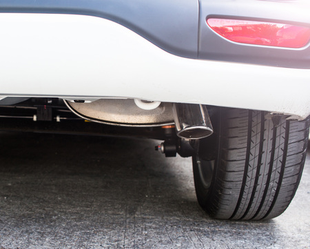 Smoke exhaust pipe car Stock Photo