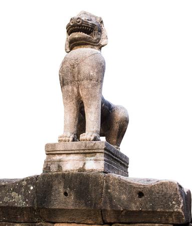 lion stone isolate on white background