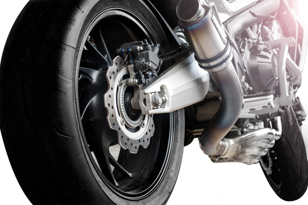 Closeup detail of a racing motorcycle disk brake with ABS system Stock Photo