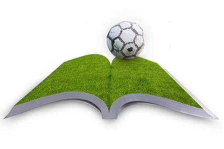 Open book with green grass soccer, football field