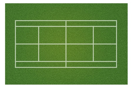 A realistic textured green grass tennis court