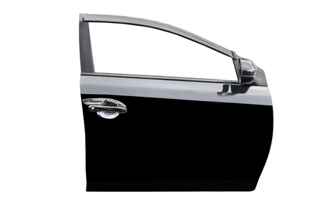 Black car door isolated on white  with clip path