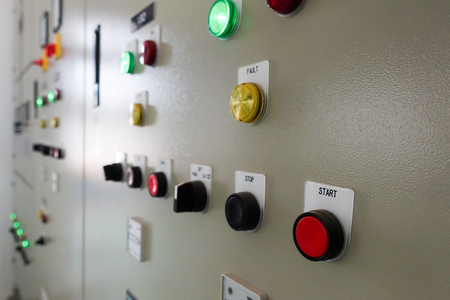 Electric switches cabinet in a water treatment plant Stock Photo