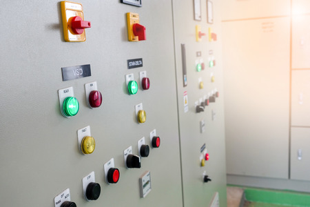 Industrial electrical switch panel at substation of water treatment plant
