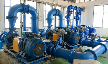 The Water pump system of  water treatment plant Stock Photo