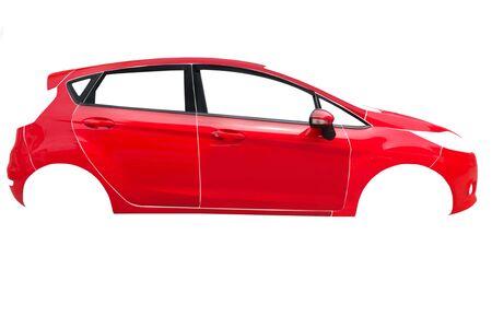 Red car frame body on white Stok Fotoğraf