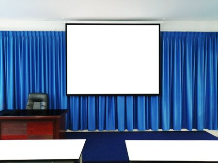 Presentation Room With Projection Screen Stok Fotoğraf