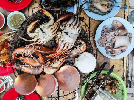 Top view Dinner Buffet Seafood Closeup