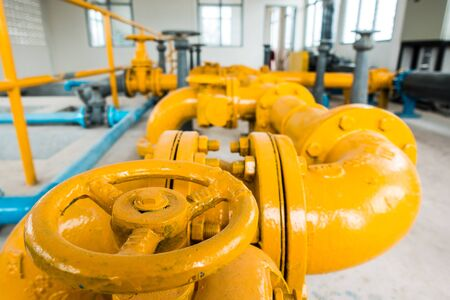 Yellow valve at water treatment plant