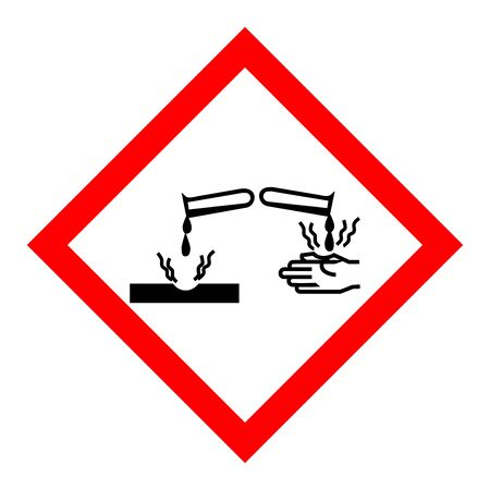 Standard Pictogam of Corrosive Symbol, Warning sign of Globally Harmonized System (GHS) Imagens - 148847561