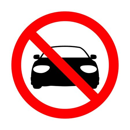 No Car vector sign illustration.