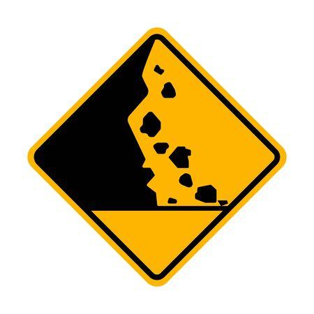 Beware Of Falling Rock Vector Sign
