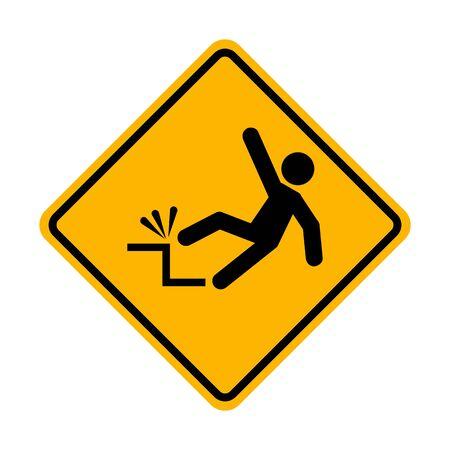 Falling hazard warning sign Ilustração