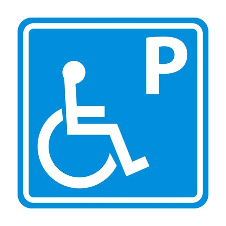 blue parking sign for disabled people in wheelchair